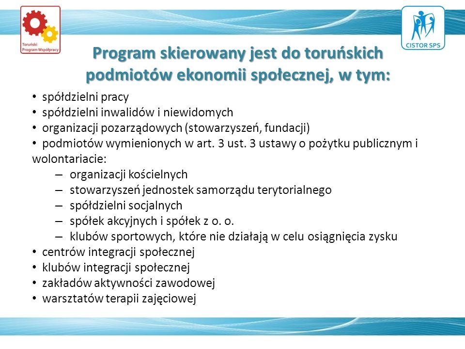 Program skierowany jest do toruńskich podmiotów ekonomii społecznej, w tym: spółdzielni pracy spółdzielni inwalidów i niewidomych organizacji pozarząd