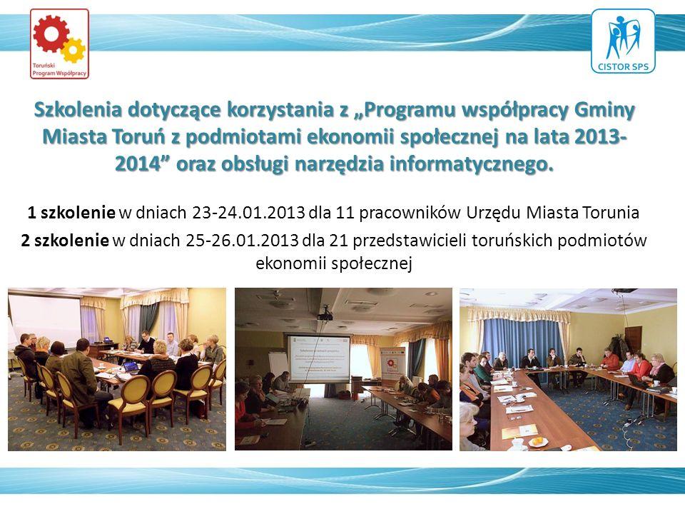 Szkolenia dotyczące korzystania z Programu współpracy Gminy Miasta Toruń z podmiotami ekonomii społecznej na lata 2013- 2014 oraz obsługi narzędzia informatycznego.