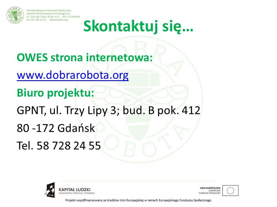 Skontaktuj się… OWES strona internetowa: www.dobrarobota.org Biuro projektu: GPNT, ul.