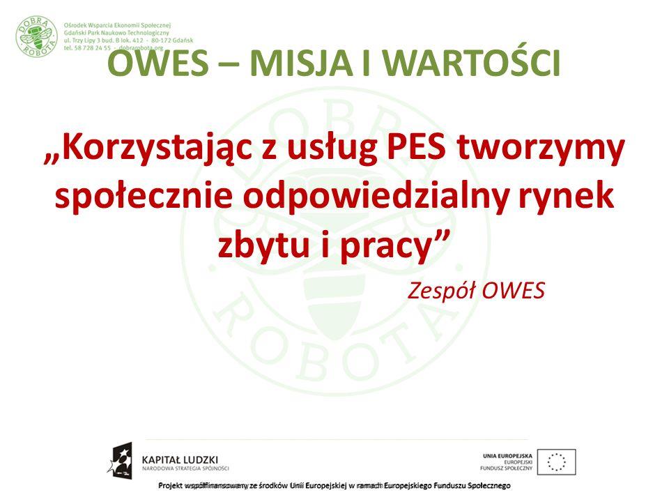Projekt współfinansowany ze środków Unii Europejskiej w ramach Europejskiego Funduszu Społecznego OWES – MISJA I WARTOŚCI Korzystając z usług PES tworzymy społecznie odpowiedzialny rynek zbytu i pracy Zespół OWES