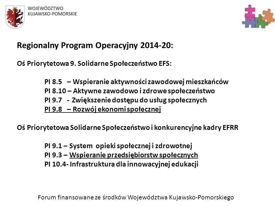 Regionalny Program Operacyjny 2014-20: Oś Priorytetowa 9. Solidarne Społeczeństwo EFS: PI 8.5 – Wspieranie aktywności zawodowej mieszkańców PI 8.10 –