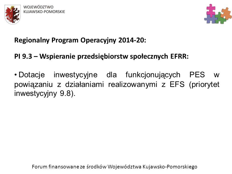 Forum finansowane ze środków Województwa Kujawsko-Pomorskiego Regionalny Program Operacyjny 2014-20: PI 9.3 – Wspieranie przedsiębiorstw społecznych E