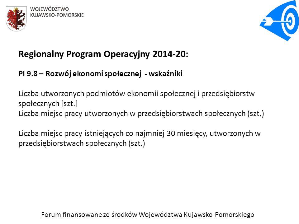 Forum finansowane ze środków Województwa Kujawsko-Pomorskiego Regionalny Program Operacyjny 2014-20: PI 9.8 – Rozwój ekonomi społecznej - wskaźniki Li