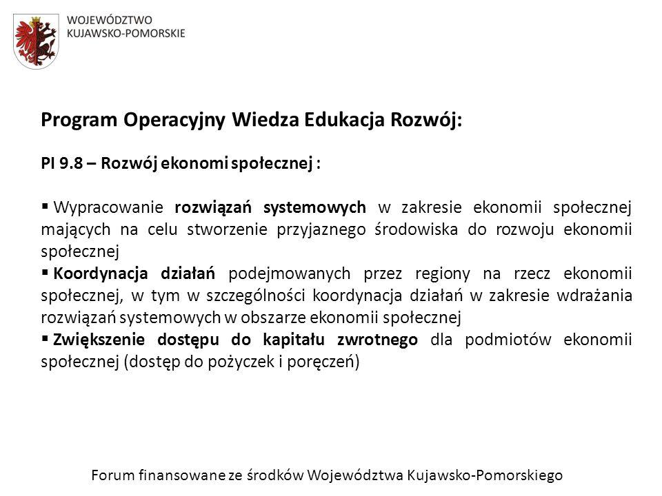 Program Operacyjny Wiedza Edukacja Rozwój: PI 9.8 – Rozwój ekonomi społecznej : Wypracowanie rozwiązań systemowych w zakresie ekonomii społecznej mają