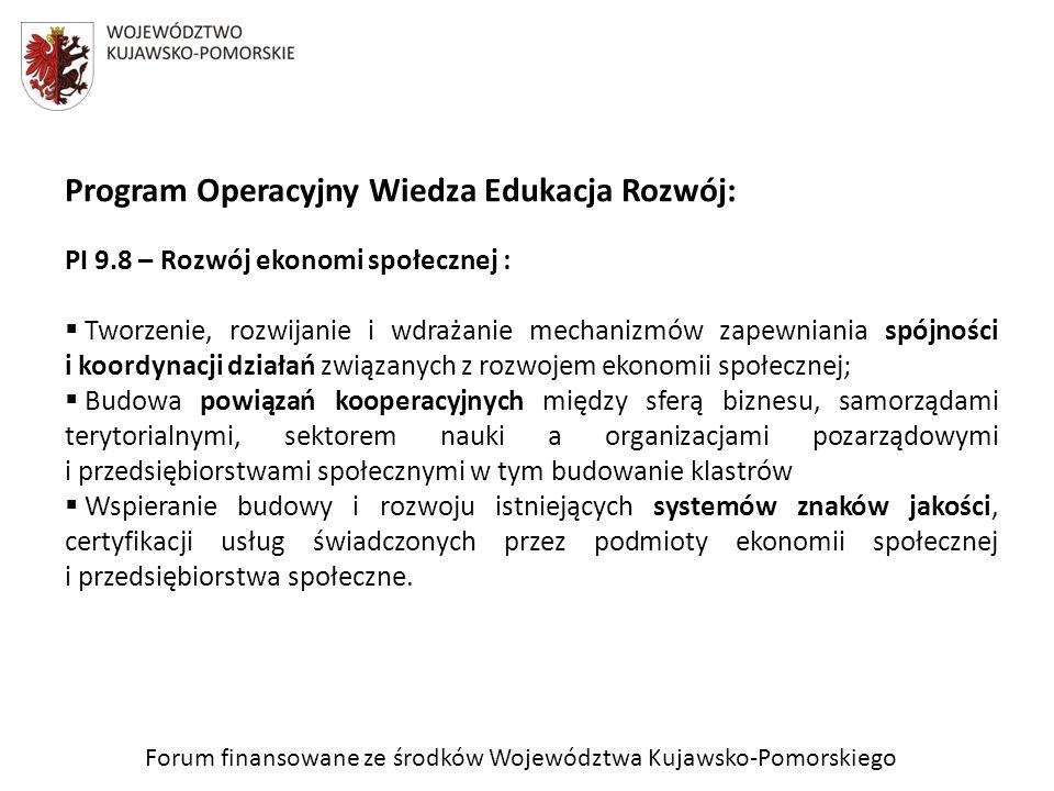 Forum finansowane ze środków Województwa Kujawsko-Pomorskiego Program Operacyjny Wiedza Edukacja Rozwój: PI 9.8 – Rozwój ekonomi społecznej : Tworzeni