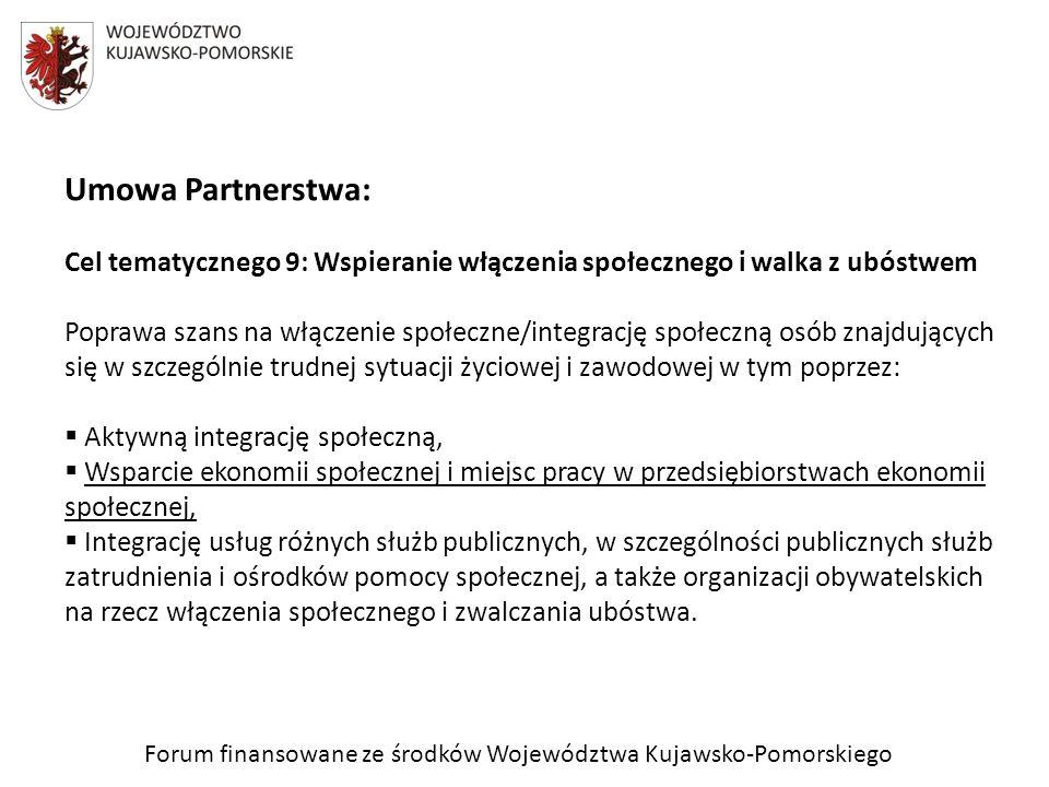 Umowa Partnerstwa: Cel tematycznego 9: Wspieranie włączenia społecznego i walka z ubóstwem Poprawa szans na włączenie społeczne/integrację społeczną o