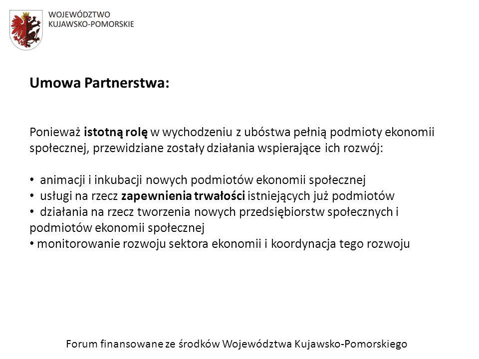 Forum finansowane ze środków Województwa Kujawsko-Pomorskiego Umowa Partnerstwa: Ponieważ istotną rolę w wychodzeniu z ubóstwa pełnią podmioty ekonomi