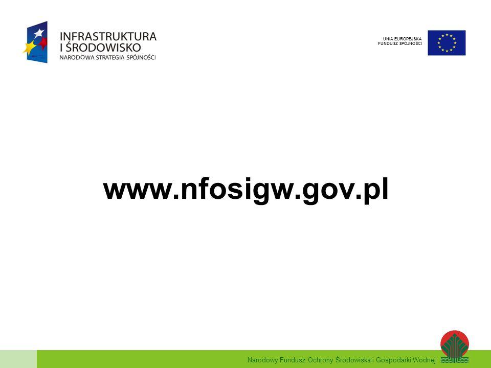 Narodowy Fundusz Ochrony Środowiska i Gospodarki Wodnej UNIA EUROPEJSKA FUNDUSZ SPÓJNOŚCI www.nfosigw.gov.pl