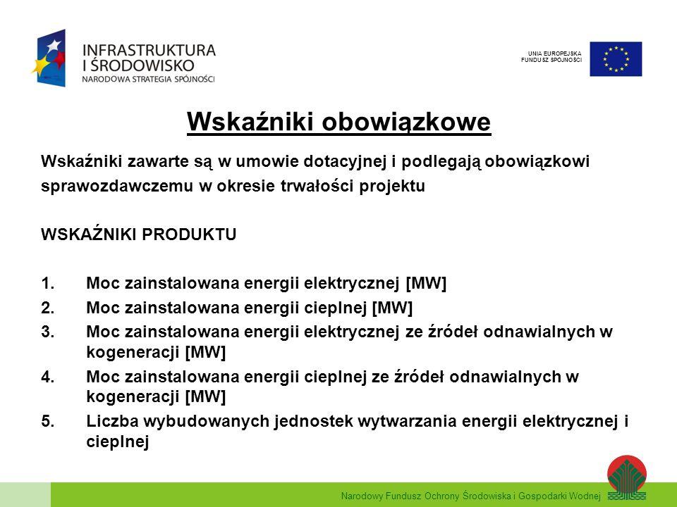 Narodowy Fundusz Ochrony Środowiska i Gospodarki Wodnej UNIA EUROPEJSKA FUNDUSZ SPÓJNOŚCI WSKAŹNIKI REZULTATU 1.Ilość zaoszczędzonej energii pierwotnej w wyniku realizacji projektów [GJ/rok] 2.Uniknięte emisje CO2 związane z oszczędnościami energii w wyniku realizacji projektów [tys.