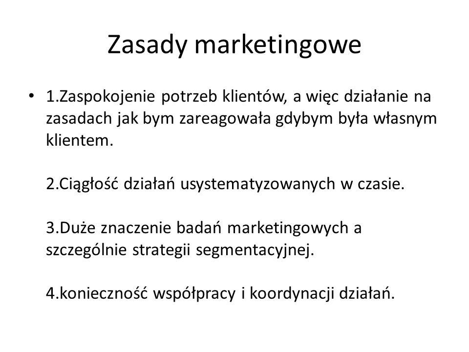 Zasady marketingowe 1.Zaspokojenie potrzeb klientów, a więc działanie na zasadach jak bym zareagowała gdybym była własnym klientem. 2.Ciągłość działań