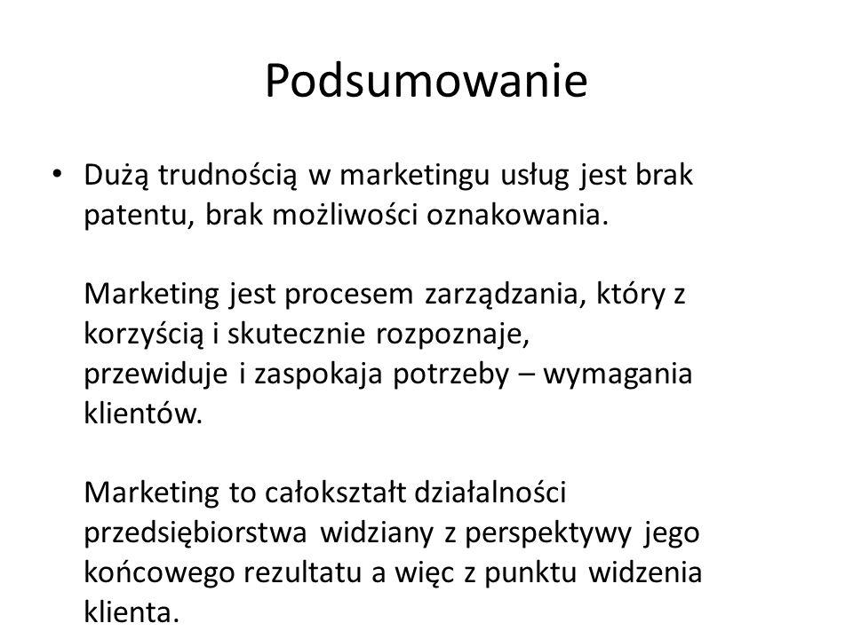 Podsumowanie Dużą trudnością w marketingu usług jest brak patentu, brak możliwości oznakowania. Marketing jest procesem zarządzania, który z korzyścią