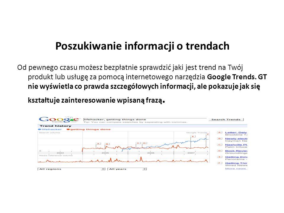 Poszukiwanie informacji o trendach Od pewnego czasu możesz bezpłatnie sprawdzić jaki jest trend na Twój produkt lub usługę za pomocą internetowego narzędzia Google Trends.