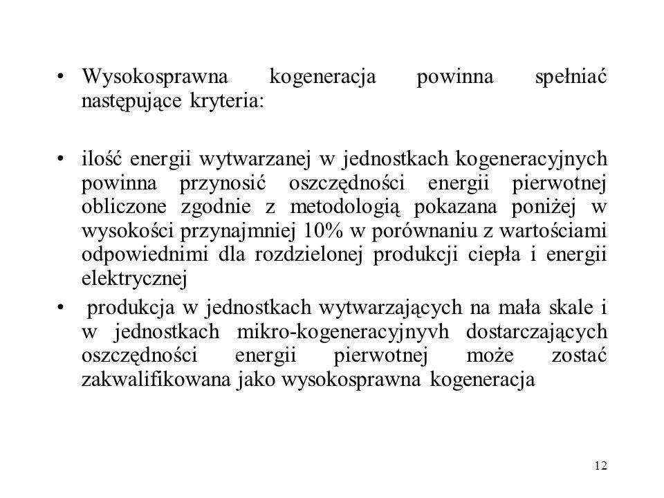 12 Wysokosprawna kogeneracja powinna spełniać następujące kryteria: ilość energii wytwarzanej w jednostkach kogeneracyjnych powinna przynosić oszczędn
