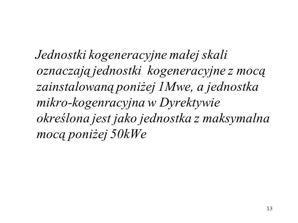 13 Jednostki kogeneracyjne małej skali oznaczają jednostki kogeneracyjne z mocą zainstalowaną poniżej 1Mwe, a jednostka mikro-kogenracyjna w Dyrektywi