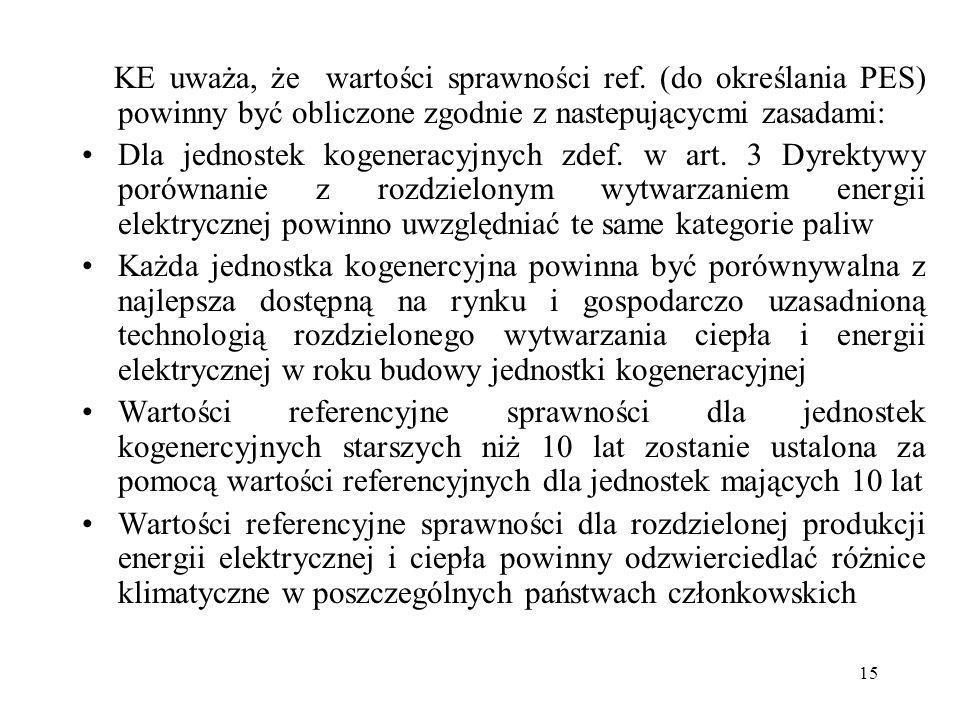 15 KE uważa, że wartości sprawności ref. (do określania PES) powinny być obliczone zgodnie z nastepującycmi zasadami: Dla jednostek kogeneracyjnych zd