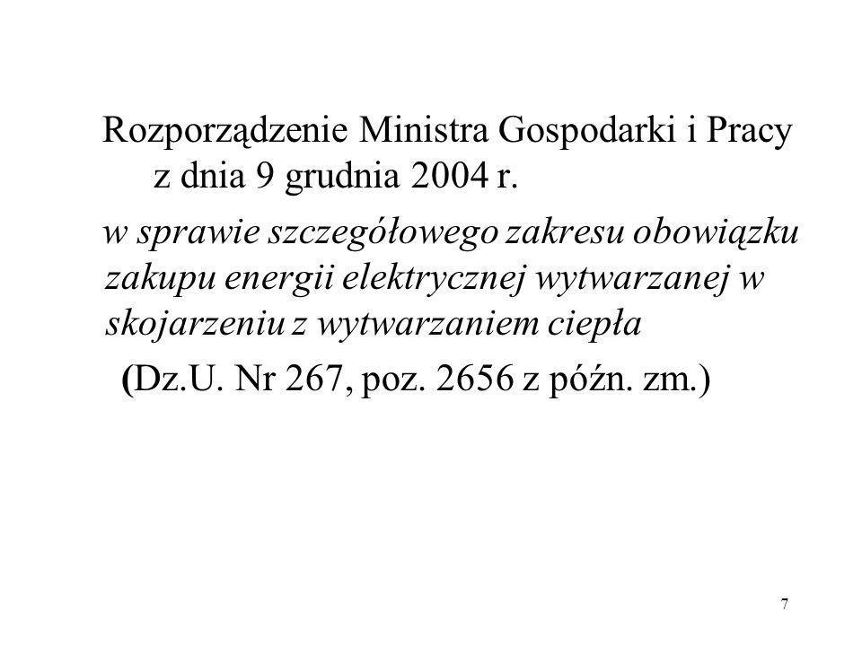 7 Rozporządzenie Ministra Gospodarki i Pracy z dnia 9 grudnia 2004 r. w sprawie szczegółowego zakresu obowiązku zakupu energii elektrycznej wytwarzane