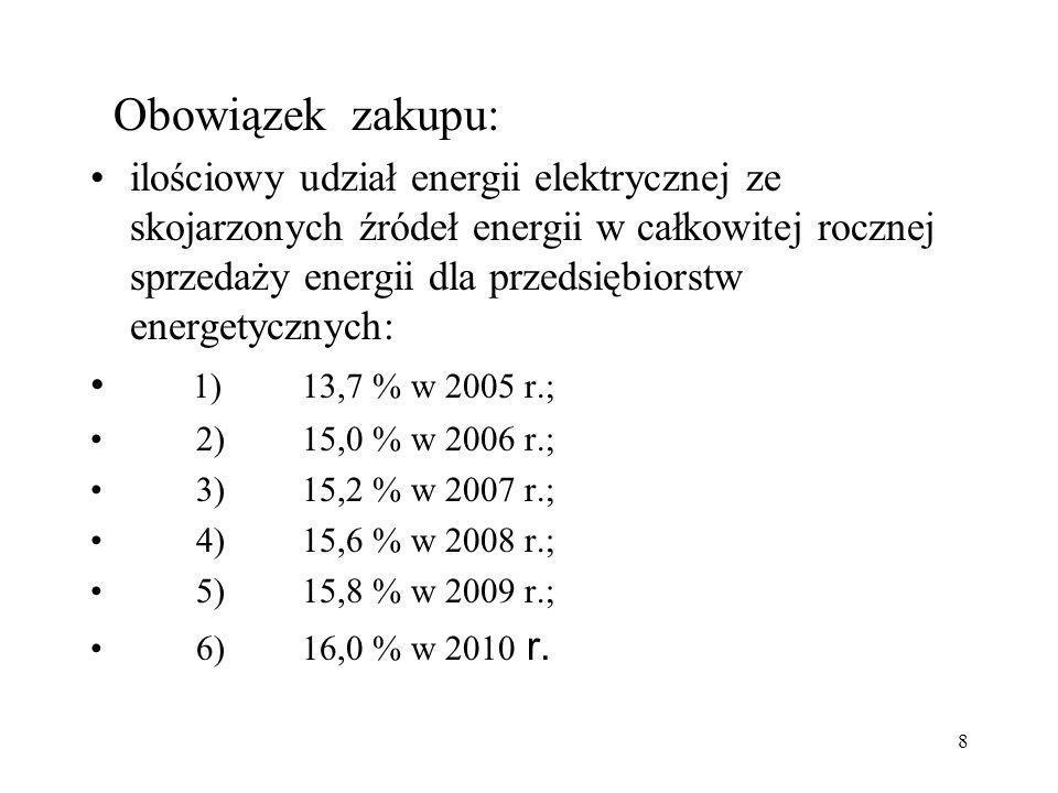 8 Obowiązek zakupu: ilościowy udział energii elektrycznej ze skojarzonych źródeł energii w całkowitej rocznej sprzedaży energii dla przedsiębiorstw en