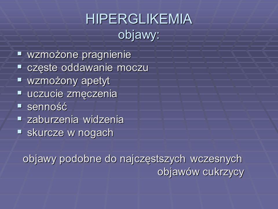 Śpiączka Hiperglikemiczna Hipoglikemiczna Śpiączka Hiperglikemiczna Hipoglikemiczna początek powolny, w ciągu dnia początek powolny, w ciągu dnia uczucie pragnienia uczucie pragnienia osłabione napięcie, nigdy drgawki, osłabione napięcie, nigdy drgawki, skóra sucha skóra sucha oddech głęboki i przyspieszony oddech głęboki i przyspieszony gałki oczne miękkie gałki oczne miękkie gorączka, bóle brzucha (w cukrzycy ketonowej) gorączka, bóle brzucha (w cukrzycy ketonowej) początek nagły, w ciągu minut początek nagły, w ciągu minut nasilone uczucie głodu nasilone uczucie głodu wzmożone napięcie, tremor wzmożone napięcie, tremor skóra wilgotna skóra wilgotna oddech prawidłowy oddech prawidłowy gałki oczne prawidłowe gałki oczne prawidłowe majaczenie (podobne do delirium alk.) objaw Babińskiego(+) majaczenie (podobne do delirium alk.) objaw Babińskiego(+)