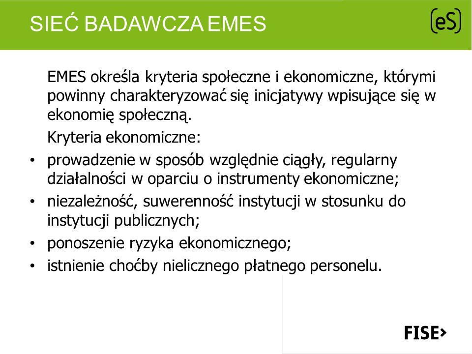 SIEĆ BADAWCZA EMES EMES określa kryteria społeczne i ekonomiczne, którymi powinny charakteryzować się inicjatywy wpisujące się w ekonomię społeczną. K