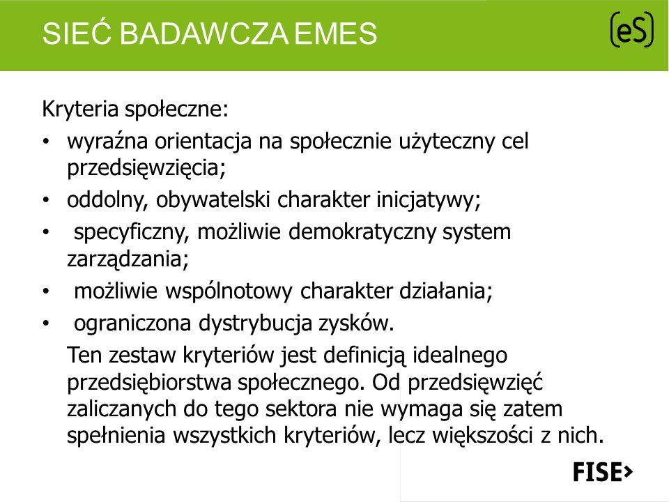 SIEĆ BADAWCZA EMES Kryteria społeczne: wyraźna orientacja na społecznie użyteczny cel przedsięwzięcia; oddolny, obywatelski charakter inicjatywy; spec
