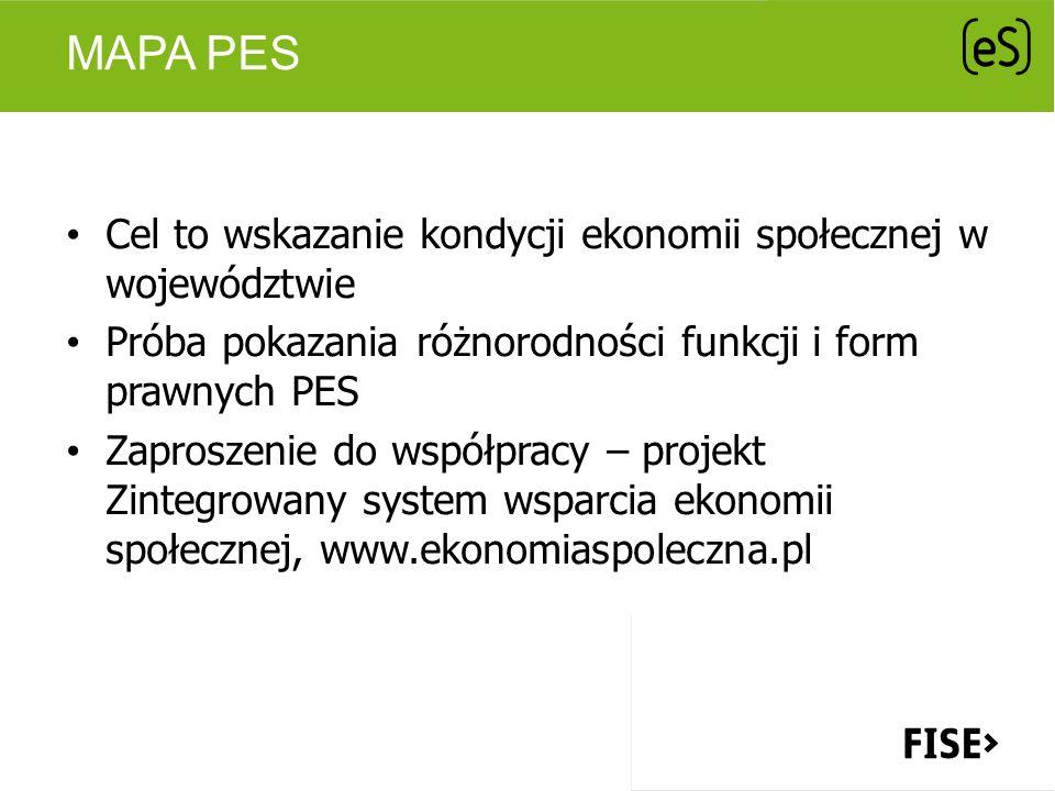 MAPA PES Cel to wskazanie kondycji ekonomii społecznej w województwie Próba pokazania różnorodności funkcji i form prawnych PES Zaproszenie do współpr