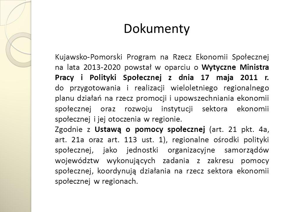 Dokumenty Kujawsko-Pomorski Program na Rzecz Ekonomii Społecznej na lata 2013-2020 powstał w oparciu o Wytyczne Ministra Pracy i Polityki Społecznej z dnia 17 maja 2011 r.