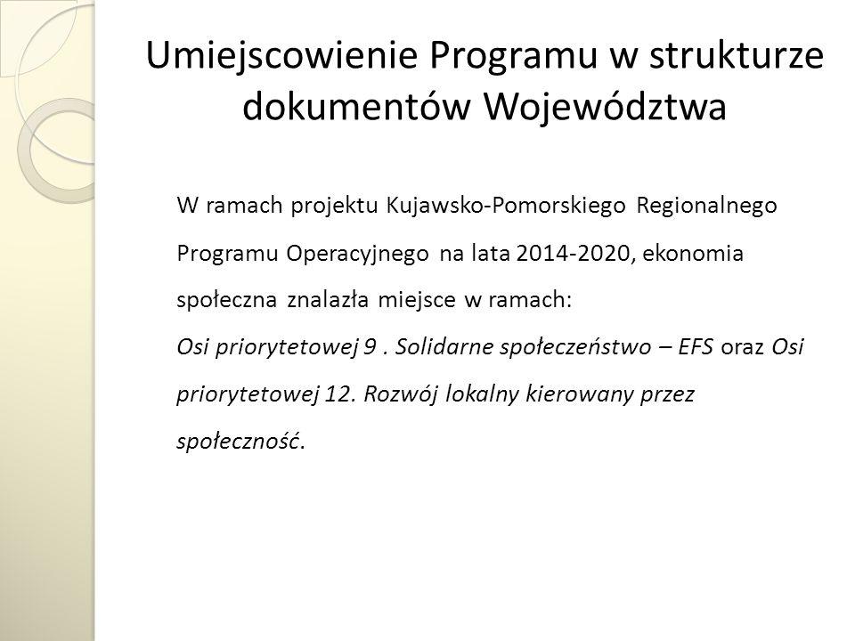 Umiejscowienie Programu w strukturze dokumentów Województwa W ramach projektu Kujawsko-Pomorskiego Regionalnego Programu Operacyjnego na lata 2014-2020, ekonomia społeczna znalazła miejsce w ramach: Osi priorytetowej 9.