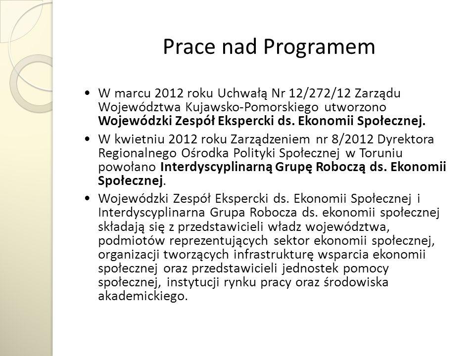 Prace nad Programem W marcu 2012 roku Uchwałą Nr 12/272/12 Zarządu Województwa Kujawsko-Pomorskiego utworzono Wojewódzki Zespół Ekspercki ds.