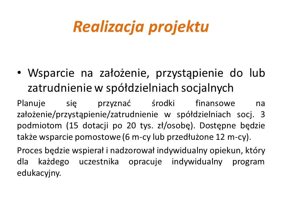 Realizacja projektu Wsparcie na założenie, przystąpienie do lub zatrudnienie w spółdzielniach socjalnych Planuje się przyznać środki finansowe na zało