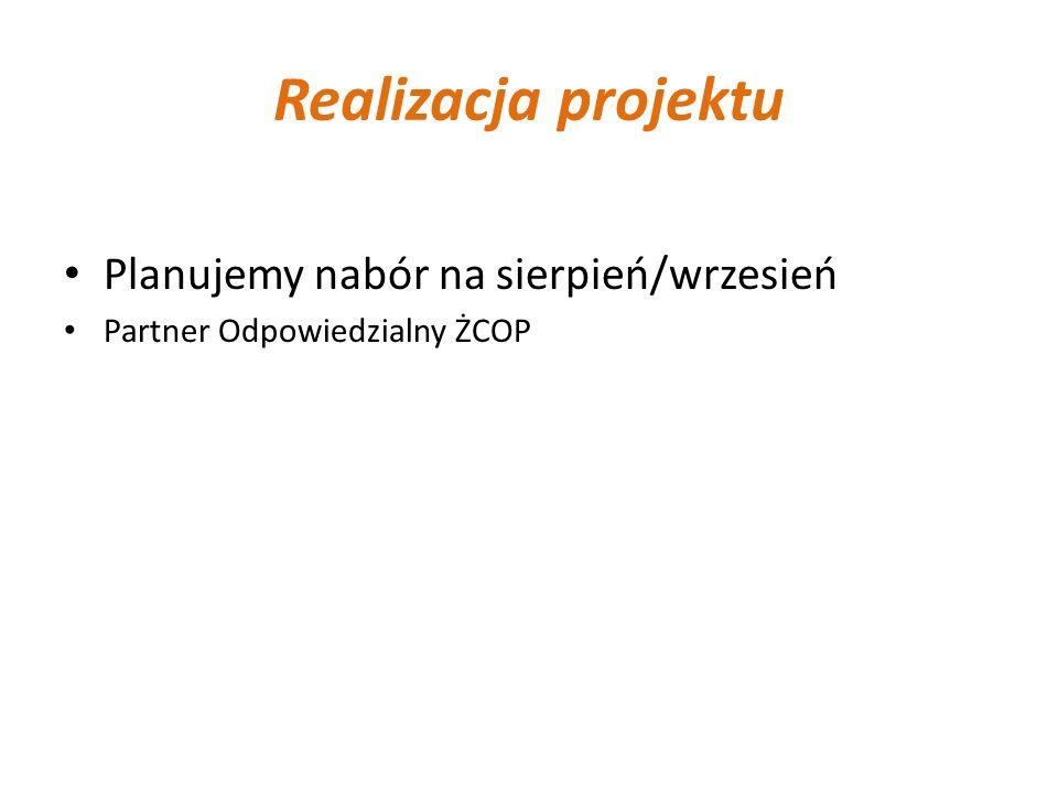 Realizacja projektu Planujemy nabór na sierpień/wrzesień Partner Odpowiedzialny ŻCOP