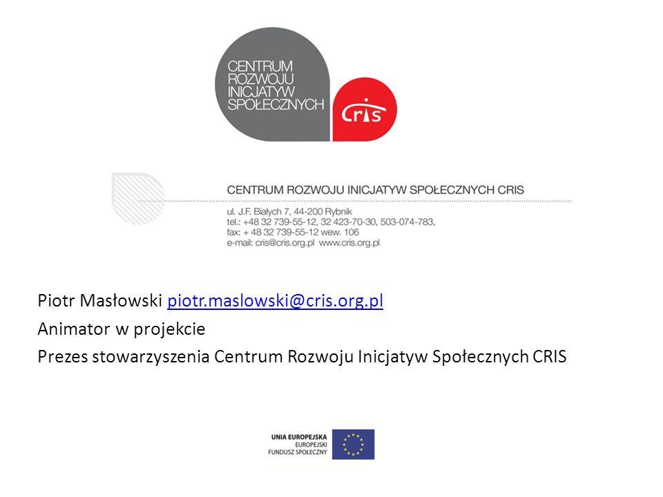 Piotr Masłowski piotr.maslowski@cris.org.plpiotr.maslowski@cris.org.pl Animator w projekcie Prezes stowarzyszenia Centrum Rozwoju Inicjatyw Społecznyc