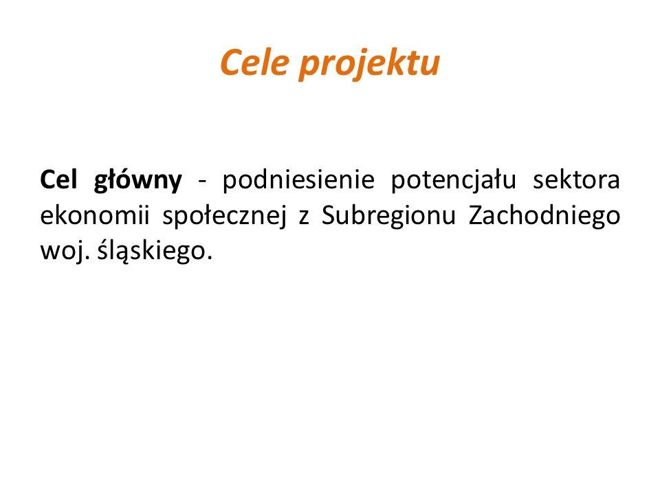 Cele projektu Cel główny - podniesienie potencjału sektora ekonomii społecznej z Subregionu Zachodniego woj. śląskiego.