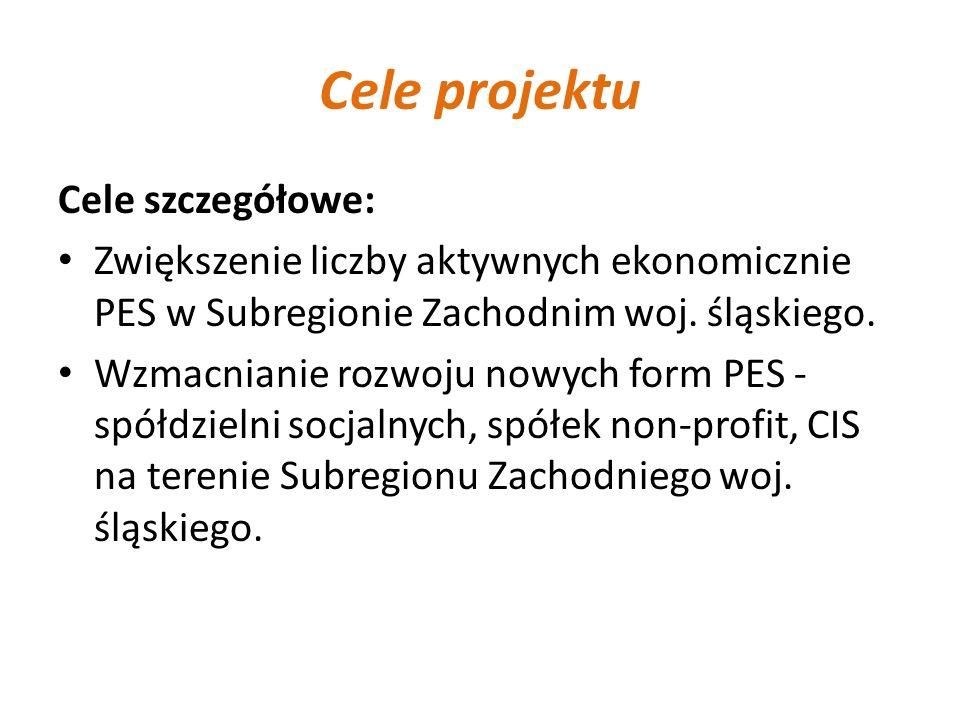 Cele projektu Cele szczegółowe: Zwiększenie liczby aktywnych ekonomicznie PES w Subregionie Zachodnim woj. śląskiego. Wzmacnianie rozwoju nowych form