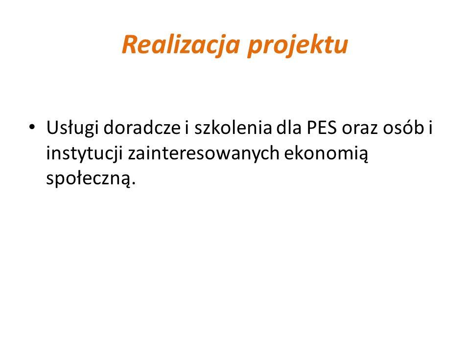 Realizacja projektu Usługi doradcze i szkolenia dla PES oraz osób i instytucji zainteresowanych ekonomią społeczną.