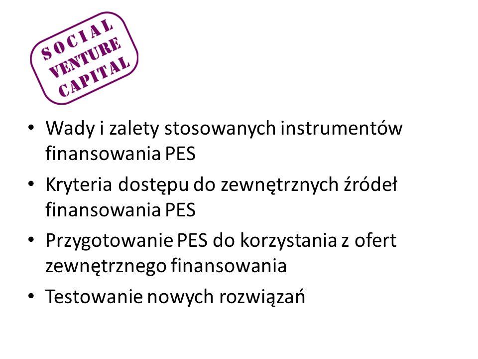 Wady i zalety stosowanych instrumentów finansowania PES Kryteria dostępu do zewnętrznych źródeł finansowania PES Przygotowanie PES do korzystania z ofert zewnętrznego finansowania Testowanie nowych rozwiązań