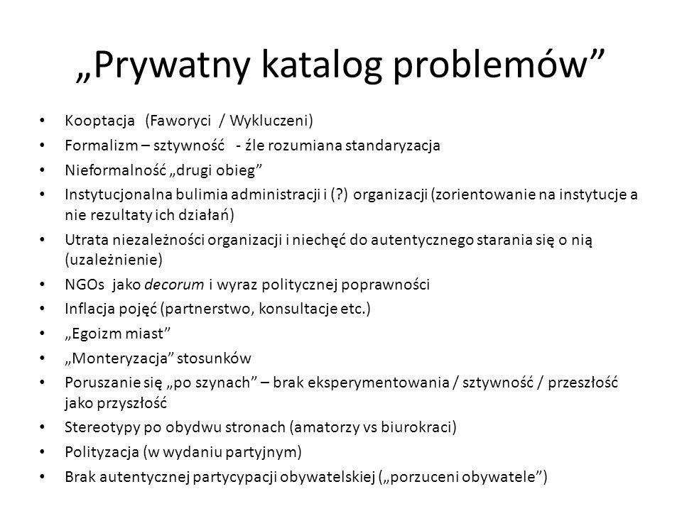 Prywatny katalog problemów Kooptacja (Faworyci / Wykluczeni) Formalizm – sztywność - źle rozumiana standaryzacja Nieformalność drugi obieg Instytucjon