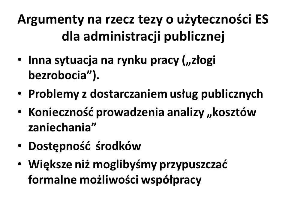 Argumenty na rzecz tezy o użyteczności ES dla administracji publicznej Inna sytuacja na rynku pracy (złogi bezrobocia). Problemy z dostarczaniem usług