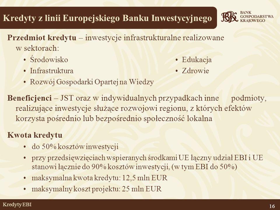 Kredyty EBI Przedmiot kredytu – inwestycje infrastrukturalne realizowane w sektorach: Środowisko Edukacja Infrastruktura Zdrowie Rozwój Gospodarki Opa
