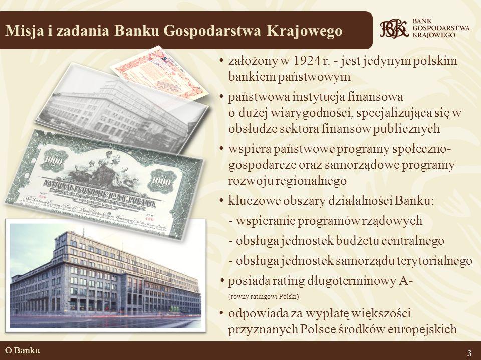 O Banku Misja i zadania Banku Gospodarstwa Krajowego 3 założony w 1924 r. - jest jedynym polskim bankiem państwowym państwowa instytucja finansowa o d