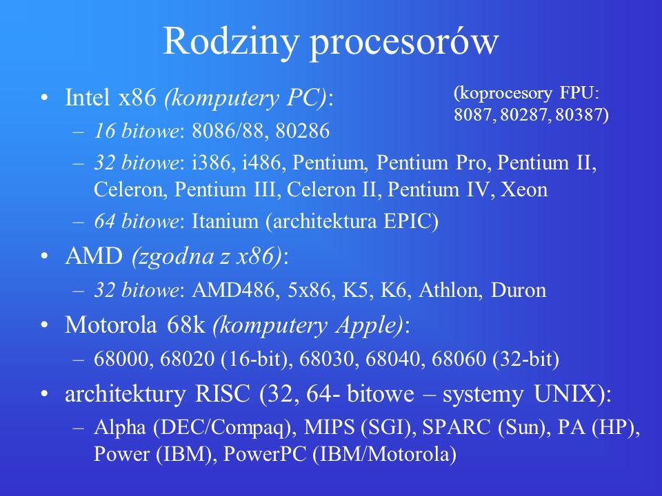Rodziny procesorów Intel x86 (komputery PC): –16 bitowe: 8086/88, 80286 –32 bitowe: i386, i486, Pentium, Pentium Pro, Pentium II, Celeron, Pentium III