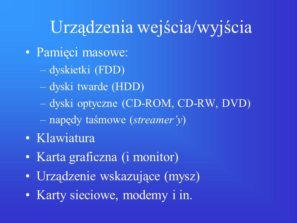 Urządzenia wejścia/wyjścia Pamięci masowe: –dyskietki (FDD) –dyski twarde (HDD) –dyski optyczne (CD-ROM, CD-RW, DVD) –napędy taśmowe (streamery) Klawi