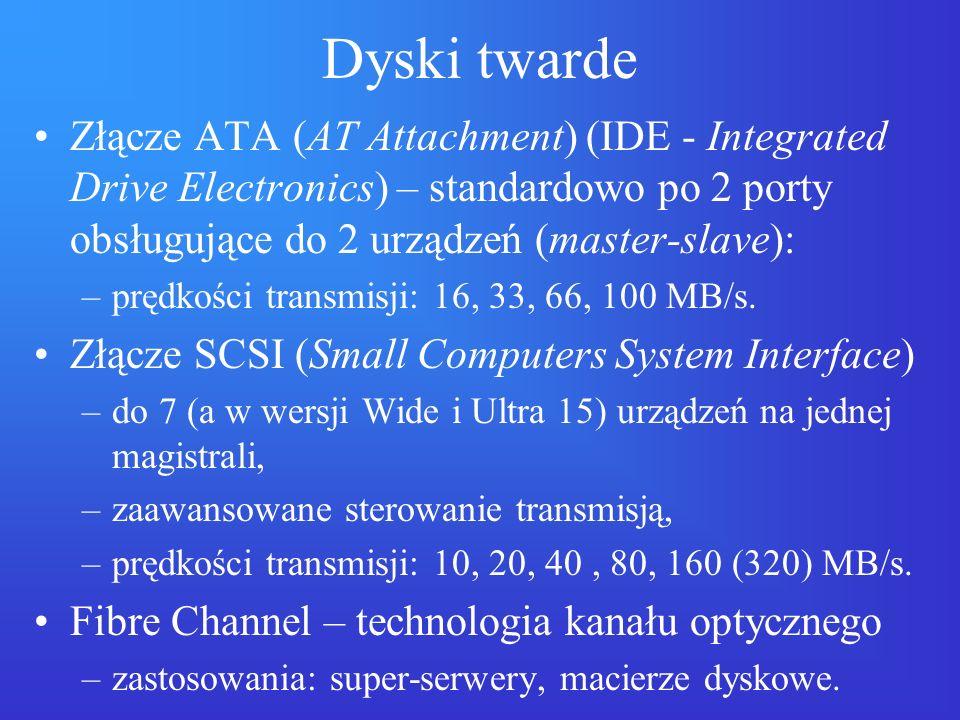 Dyski twarde Złącze ATA (AT Attachment) (IDE - Integrated Drive Electronics) – standardowo po 2 porty obsługujące do 2 urządzeń (master-slave): –prędk