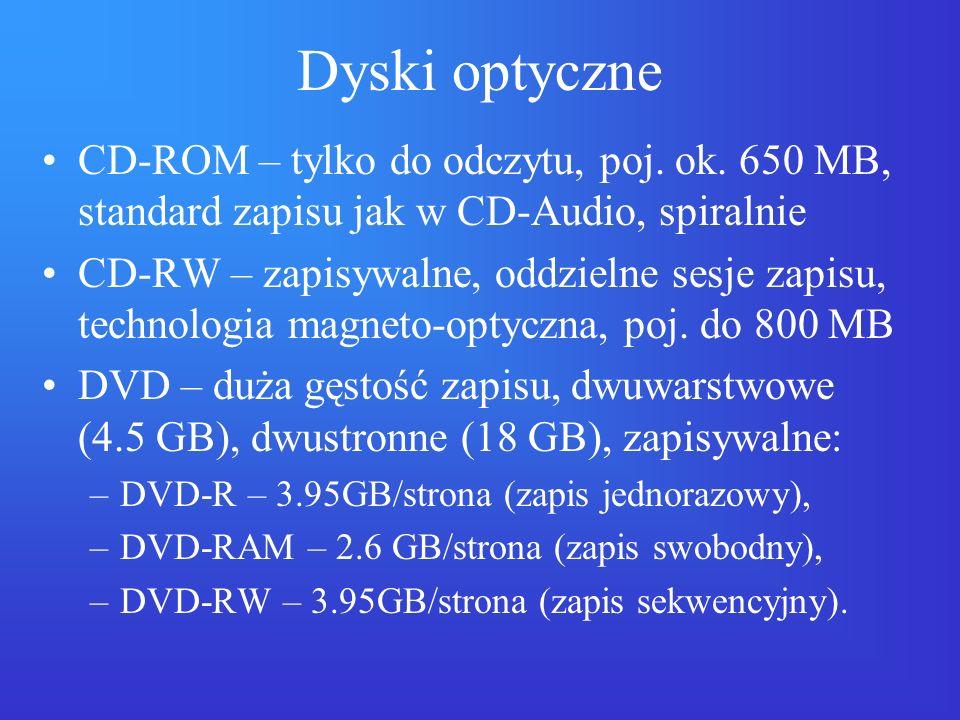 Dyski optyczne CD-ROM – tylko do odczytu, poj. ok. 650 MB, standard zapisu jak w CD-Audio, spiralnie CD-RW – zapisywalne, oddzielne sesje zapisu, tech