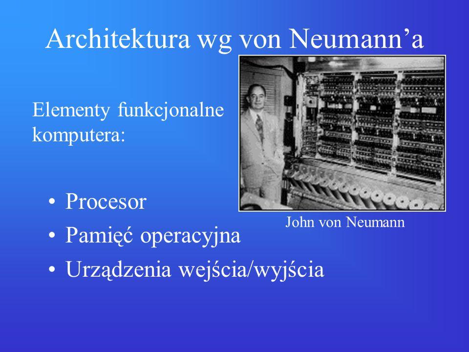 Architektura wg von Neumanna Pamięć jest uporządkowana w sposób jednowymiarowy (komórka pamięci ma adres, wyrażony liczbą).