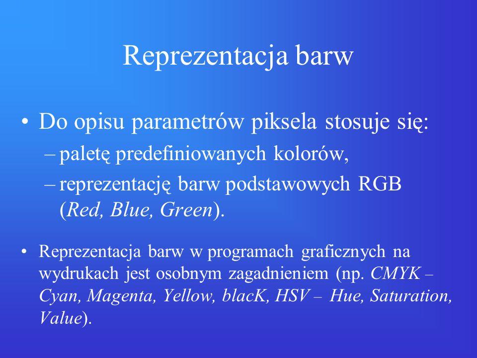 Reprezentacja barw Do opisu parametrów piksela stosuje się: –paletę predefiniowanych kolorów, –reprezentację barw podstawowych RGB (Red, Blue, Green).