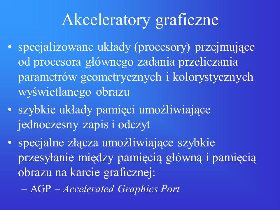 Akceleratory graficzne specjalizowane układy (procesory) przejmujące od procesora głównego zadania przeliczania parametrów geometrycznych i kolorystyc
