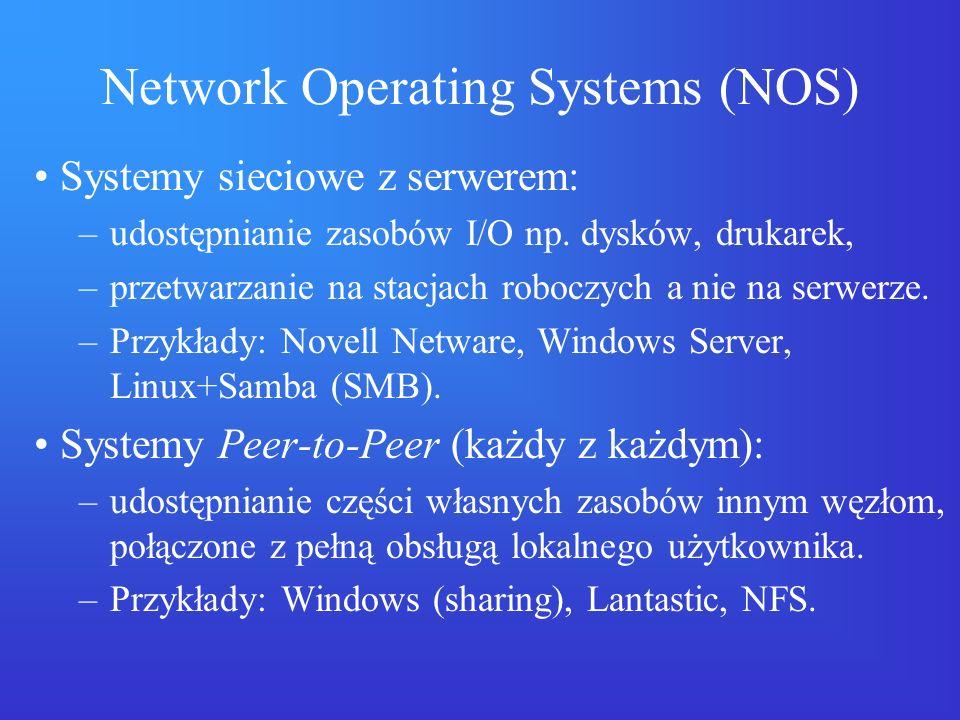 Network Operating Systems (NOS) Systemy sieciowe z serwerem: –udostępnianie zasobów I/O np. dysków, drukarek, –przetwarzanie na stacjach roboczych a n