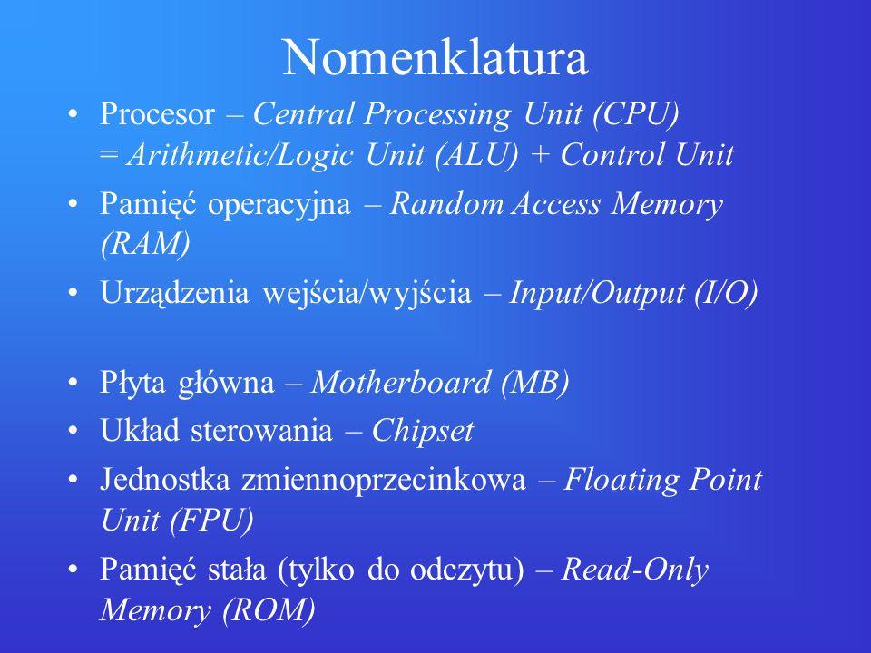 Urządzenia wejścia/wyjścia Pamięci masowe: –dyskietki (FDD) –dyski twarde (HDD) –dyski optyczne (CD-ROM, CD-RW, DVD) –napędy taśmowe (streamery) Klawiatura Karta graficzna (i monitor) Urządzenie wskazujące (mysz) Karty sieciowe, modemy i in.