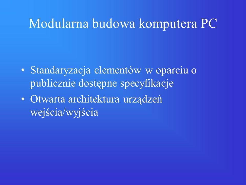 Modularna budowa komputera PC Standaryzacja elementów w oparciu o publicznie dostępne specyfikacje Otwarta architektura urządzeń wejścia/wyjścia