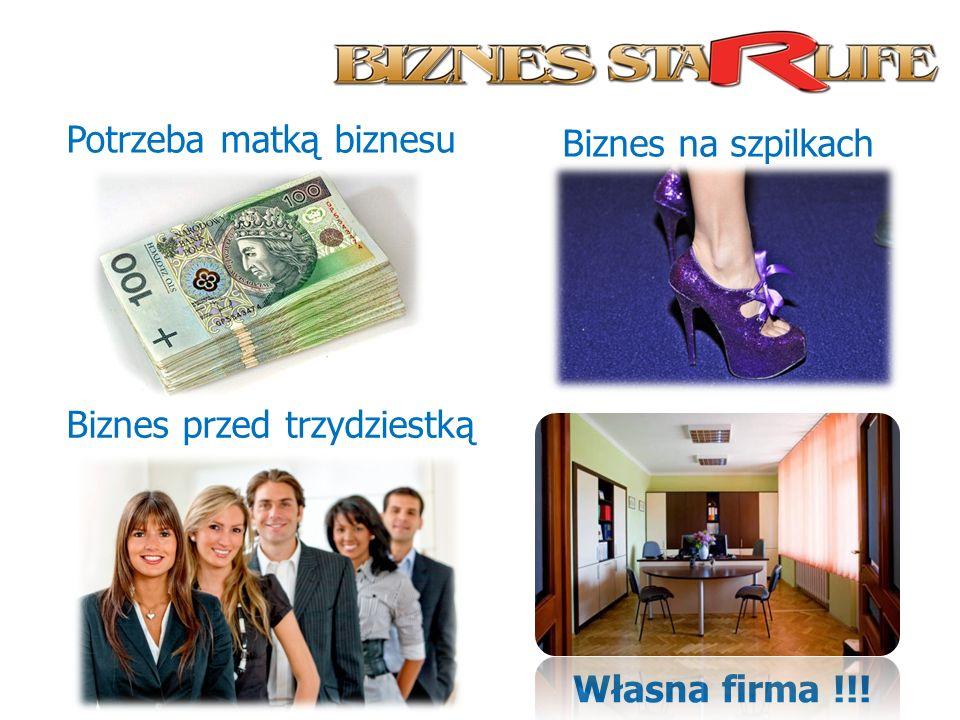 Potrzeba matką biznesu Biznes przed trzydziestką Biznes na szpilkach Własna firma !!!